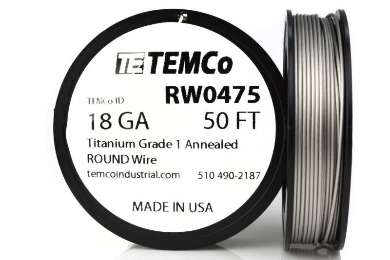 TEMCo Titanium Wire 18 Gauge 50 Ft Surgical Grade 1 Resistance AWG ga