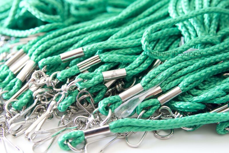 WHOLESALE ROPE ROUND ID NECK LANYARDS WITH SWIVEL J HOOK QUANTITY 100 PCS GREEN