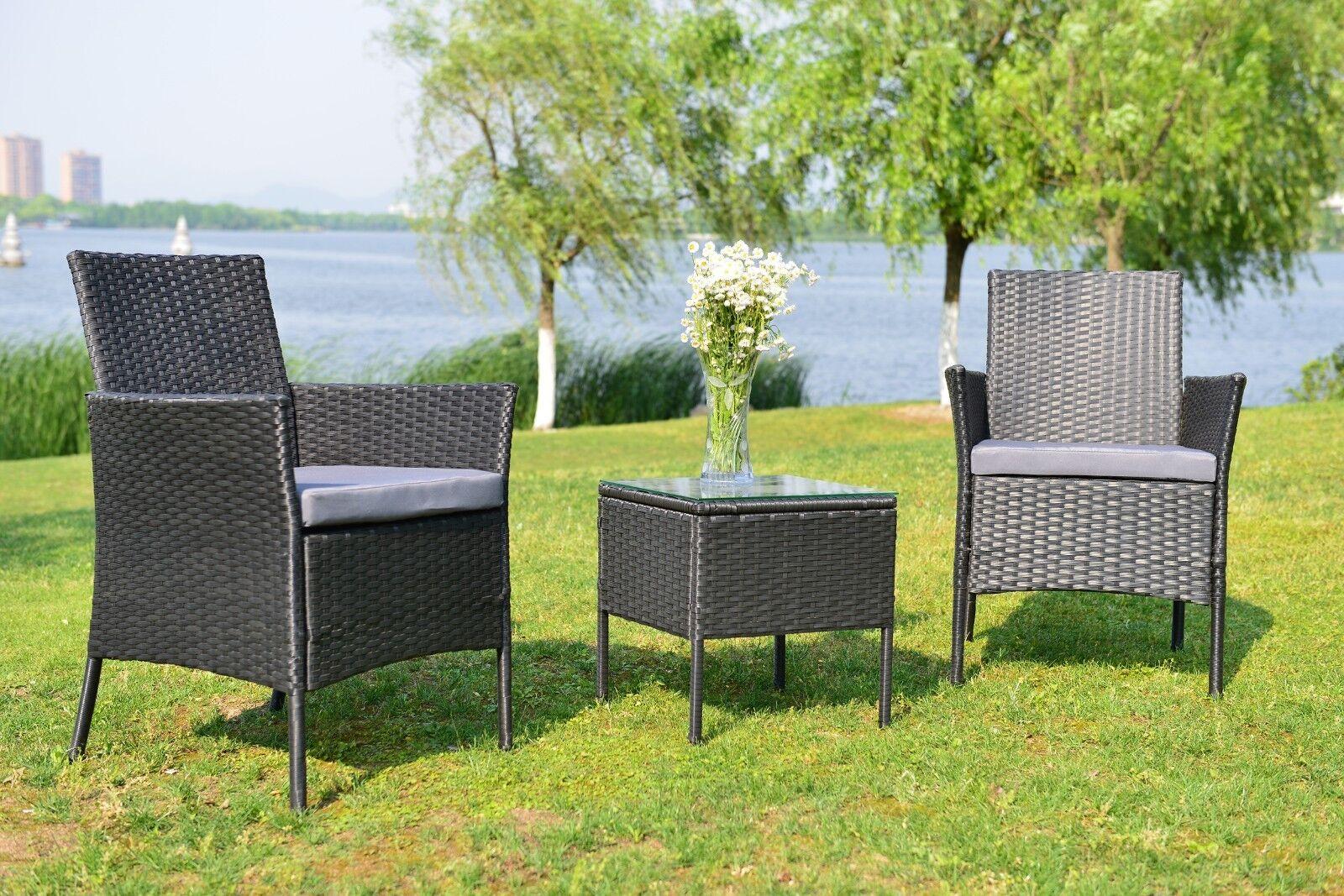 Garden Furniture - 3 Pcs Rattan Sofa Patio Furniture Garden Wicker Chair Bistro Set Cushioned Seat