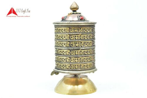 8.5 Inchs Table top  Authentic Buddhist Mantra symbol Prayer wheel, SNS Craft