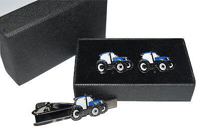 Blue Tractor Cufflinks Tie Clip Fordnew Holland Gift Boxed Enamel Farming