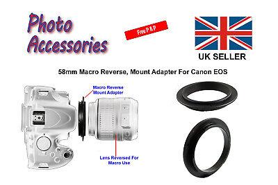 Eos-film (58mm Macro Reverse Adapter Ring (Metal) For Canon EOS Film or Digital SLR Body)