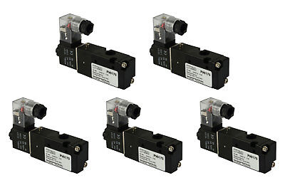 5x 24v Ac Solenoid Air Pneumatic Control Valve 3 Port 3 Way 2 Position 18 Npt