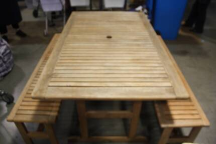 Outdoor Setting Table With Matching Bench Seats From