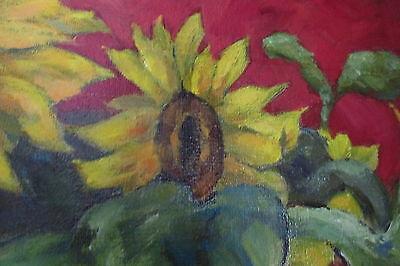Vintage AAFA Oil On Canvas Artist Signed P Maher 69 Large Sunflowers Still Life - $1,990.01