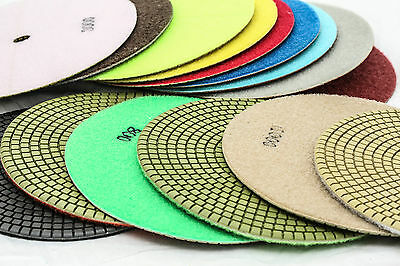 7 Inch Diamond Polishing Pads 7 Piece Set Wetdry Granite Concrete Stone Marble
