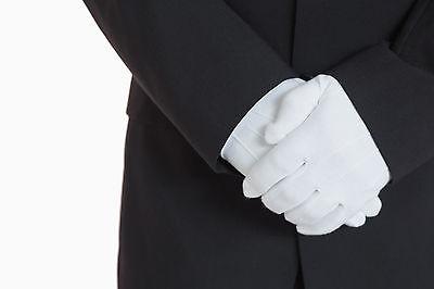 Men's White Formal Dress Gloves Tuxedo Band Marching Parade Stretch Nylon New White Stretch Glove