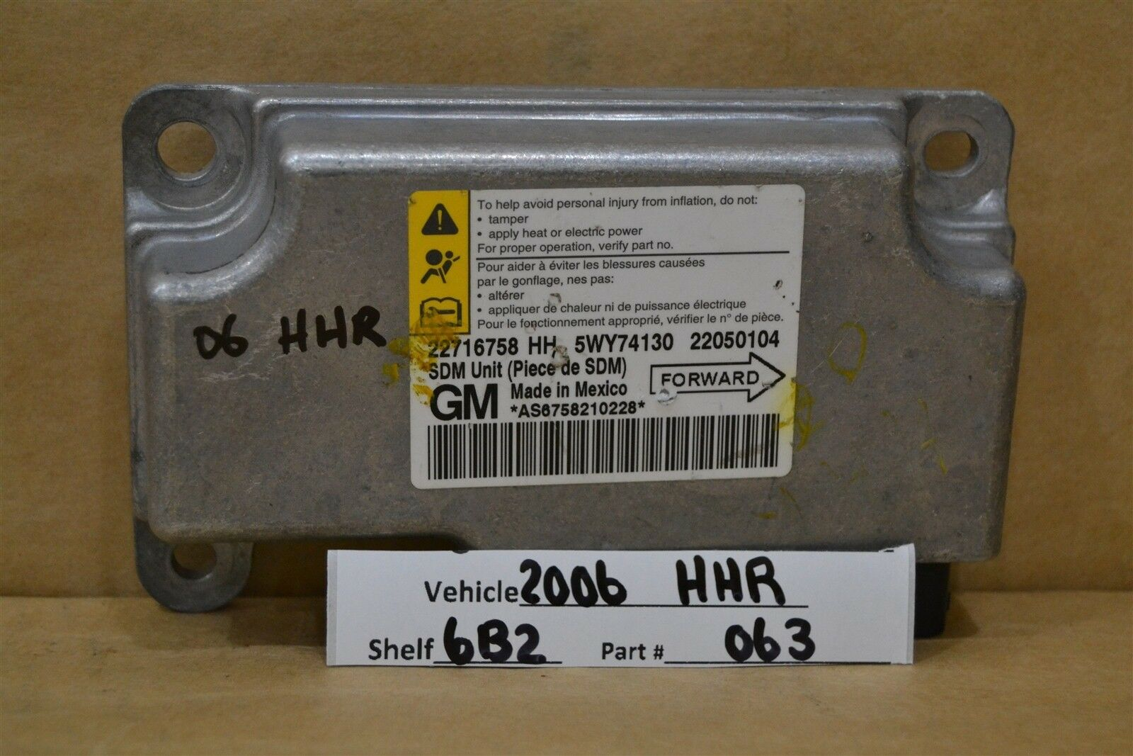 Used Chevrolet Hhr Computers Chips Cruise Control And Related Chevy Ecm 2006 Air Bag 22716758 Module 1963 6b2
