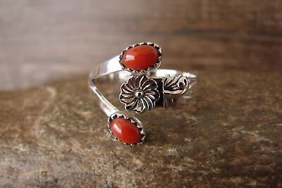 Navajo Indian Jewelry Sterling Silver Orange Spiny Oyster Adjustable Ring! Si...