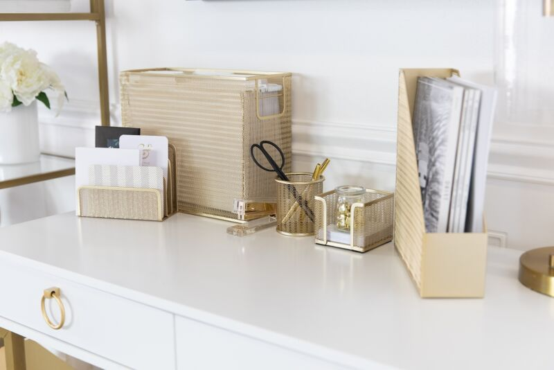 Blu Monaco Gold 5 Piece Cute Desk Organizer Set