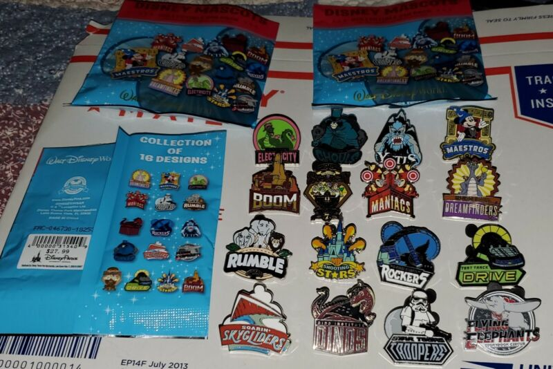 Disney Pins Mascots Complete Set of 16 Dumbo Toy Story Mania & More Authentic