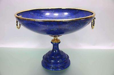 Riesiger LUXUS Tafelaufsatz MANGANI Italy Porzellan 40cm Durchmesser Gold Blau