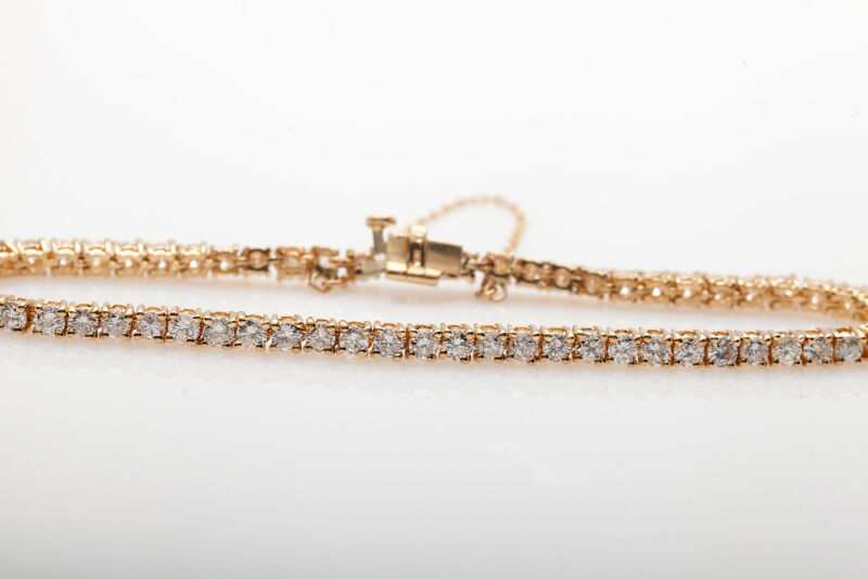 Estate $12,000 5ct Diamond 14k Yellow Gold Box Link Tennis Bracelet