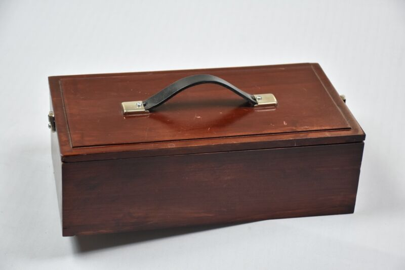 Wooden Shoe Shine Box w/polish and brushes Solid Wool