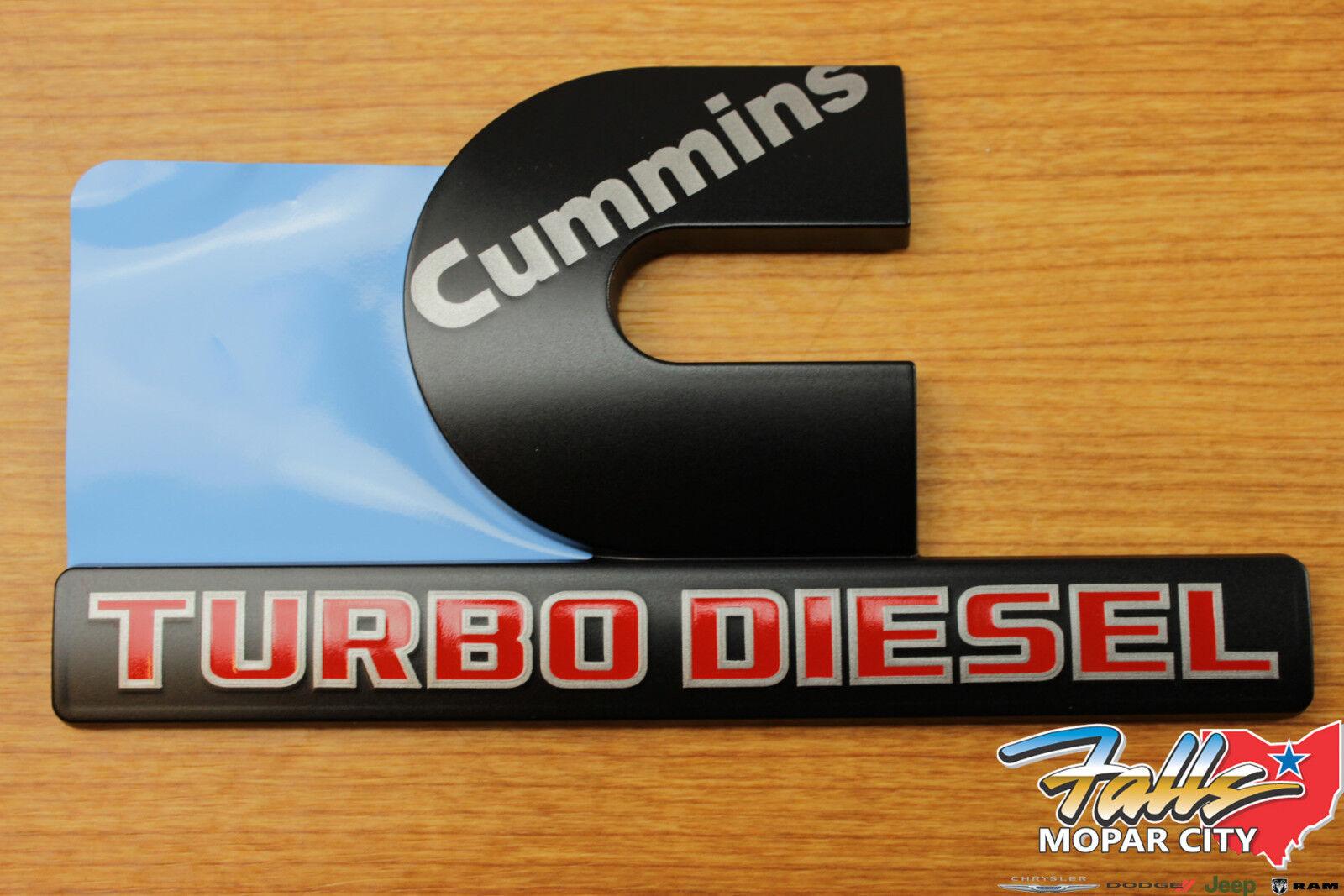 2X Cummins Turbo Diesel Decal Nameplate Emblem Chrome For Dodge Ram 2500 3500