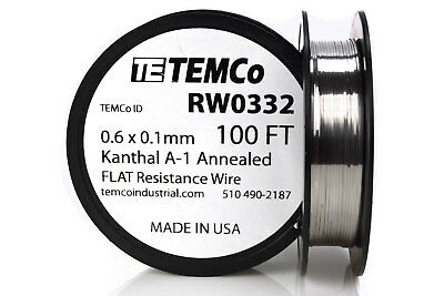 Temco Flat Ribbon Kanthal A1 Wire 0.6mm X 0.1mm 100 Ft Resistance A-1