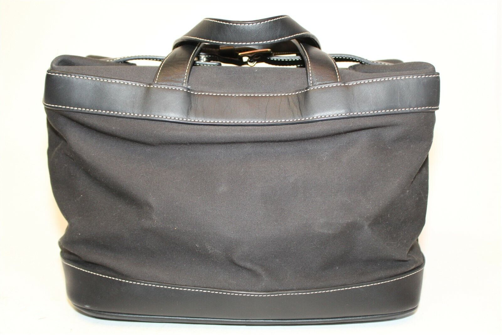 Coach L25-5459 Large Black Leather Canvas Travel Weekender Duffle Tote Bag 2002 - $10.55