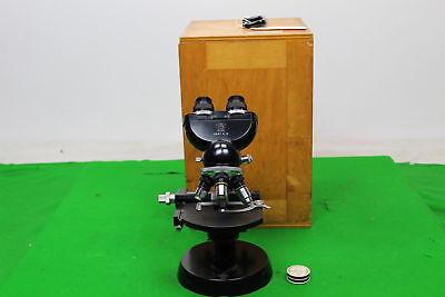 Carl Zeiss Binocular Microscope W 4 Objectives In Wooden Case