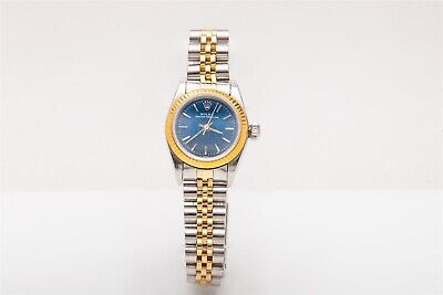 Used, Estate $7000 14k Yellow Gold SS Rolex BLUE DIAL Ladies Oyster Watch BOX & WTY for sale  Shipping to Canada