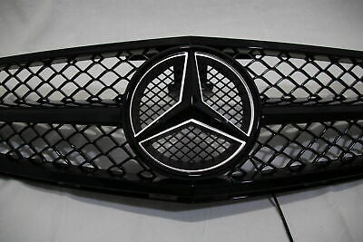 LED BLACK Grill For Mercedes-Benz C Class W204 Front + Emblem C300 C350 2008-14