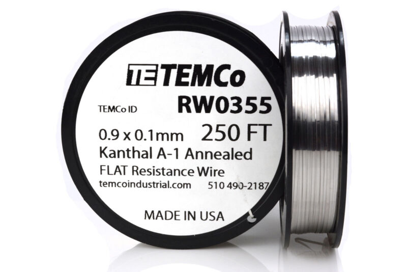 TEMCo Flat Ribbon Kanthal A1 Wire 0.9mm x 0.1mm 250 Ft Resistance A-1