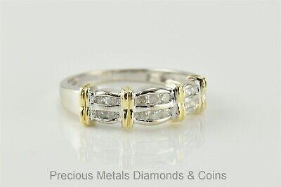 10k White & Yellow Gold Double Row .25tcw Channel Set Diamond Band Ring Sz: 6.75