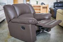 New Full Leather Recliner Sofa Lounge In Chocolate Brown WAS $900 Roselands Canterbury Area Preview