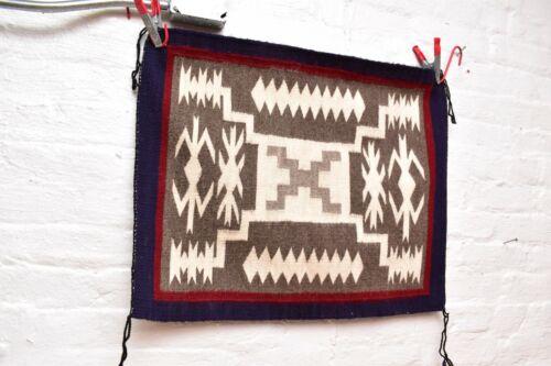 ANTIQUE Navajo Rug native american indian weaving Vintage 26x21 Storm Pattern