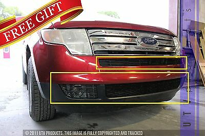 Edge Billet - GTG 2007 - 2010 Ford Edge 4PC Gloss Black Overlay Bumper Billet Grille Grill Kit