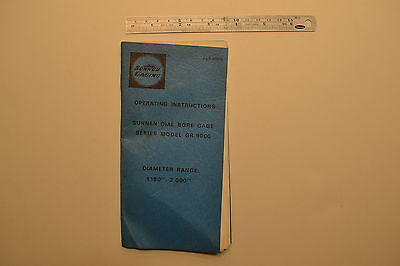 J96 Sunnen Dial Bore Gage Series Model Gr-9000 Operating Instructions Manual