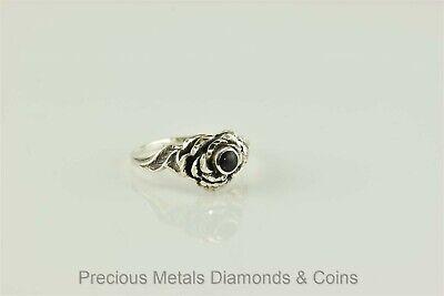 Cute Sterling Silver Diamond Cut Raised Rose Black Onyx Button Ring 925 Sz: 8