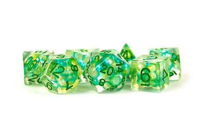 Pearl Dice Sea Foam w/ Green Numbers 16mm Resin Poly Dice Set