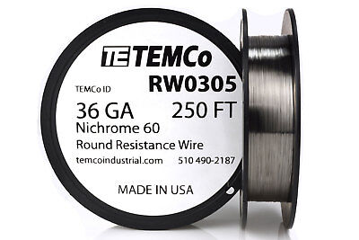 Temco Nichrome 60 Series Wire 36 Gauge 250 Ft Resistance Awg Ga