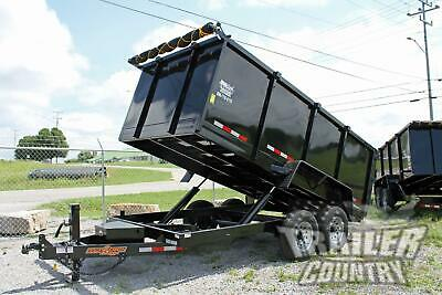 New 7 X 14 14k Gvwr Hydraulic Power Up Down Dump Trailer Hauler 1 Piece Floor