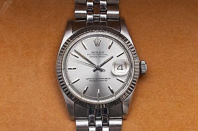 Estate $7000 Genuine Rolex Mens DATEJUST 18k White Gold SS Watch & Box & WRTY