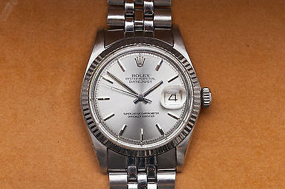 $2985.00 - Estate $7000 Genuine Rolex Mens DATEJUST 18k White Gold SS Watch & Box & WRTY