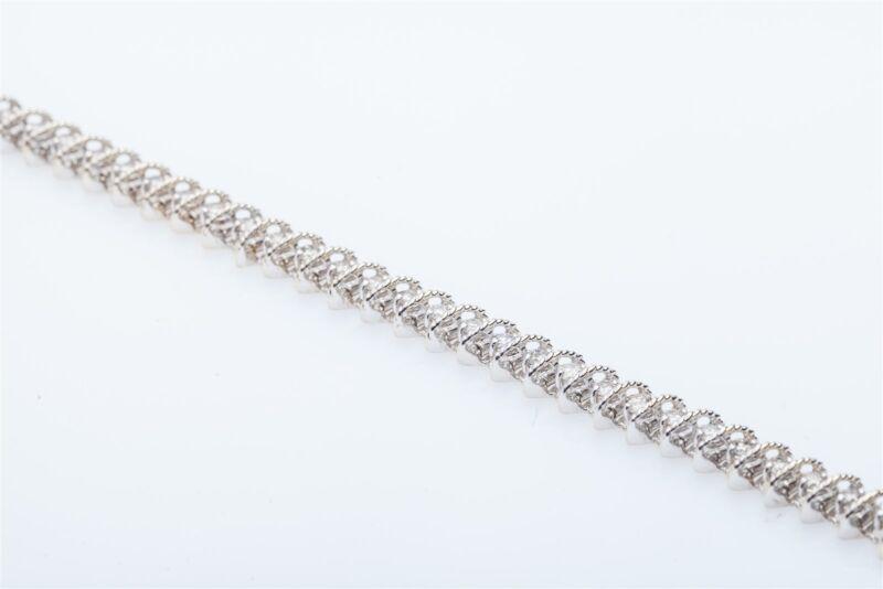 Estate $12,000 6ct Natural Diamond 14k White Gold Tennis Bracelet