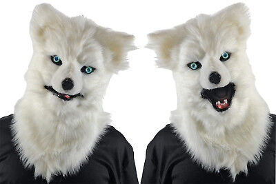 Animated Animal White Wolf Plastic Face Mask With Moveable Jaw - White Wolf Halloween Mask