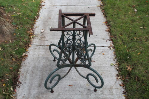 Antique Victorian Wrought Iron Table Base Detailed Scrolls Large Garden