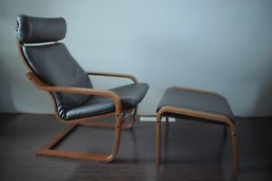 IKEA Leather Poang armchair and footrest