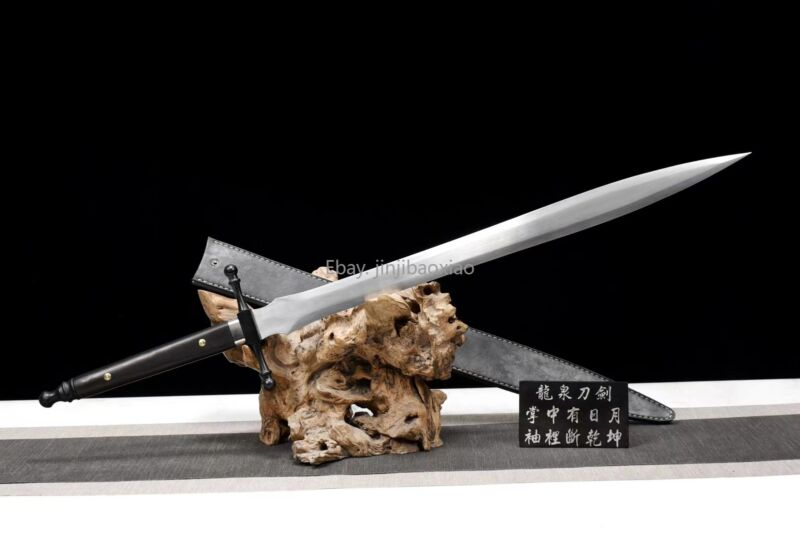 Sharp Sword Kungfu Dao HighSpeed Steel Ebony Handle Leather Sheath Outdoor Knife
