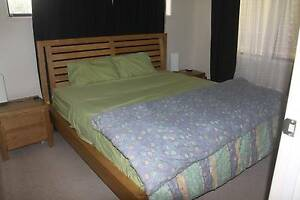 King Bed with matching side tables x 2 in light timber Golden Beach Caloundra Area Preview