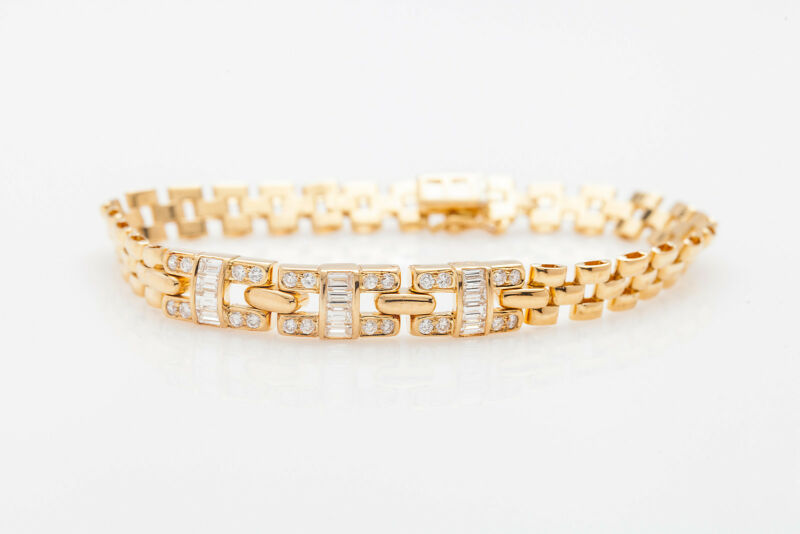 Designer Signed $10,000 3ct Vs G Baguette Diamond Panther Link 18k Gold Bracelet