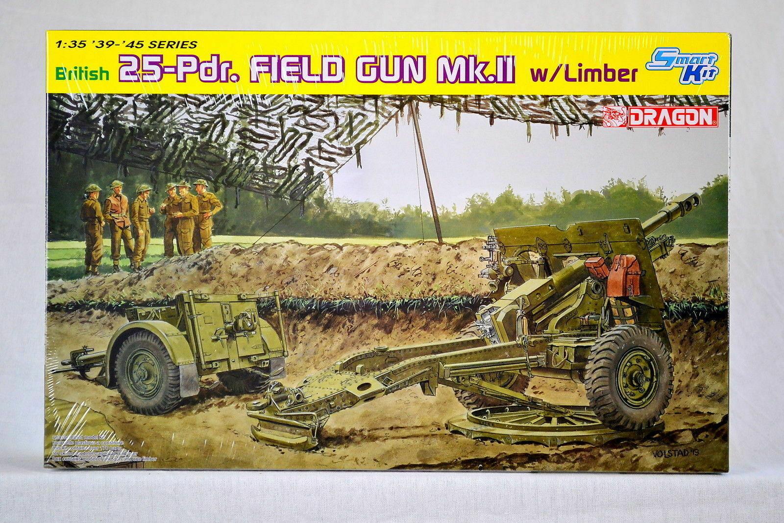 British 25Pdr Field Gun Mk.Ii W//Limber Dragon Kit 1:35 D6774 Smart Kit