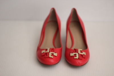 NEW Tory Burch 'Lowell' Leather Pump Logo Toe - Red / Gold - 9 M  (Z17)