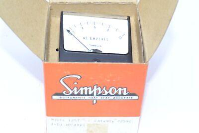 New Simpson Model 1257 0-10 Ac Amps Panel Meter Cat No. 02590