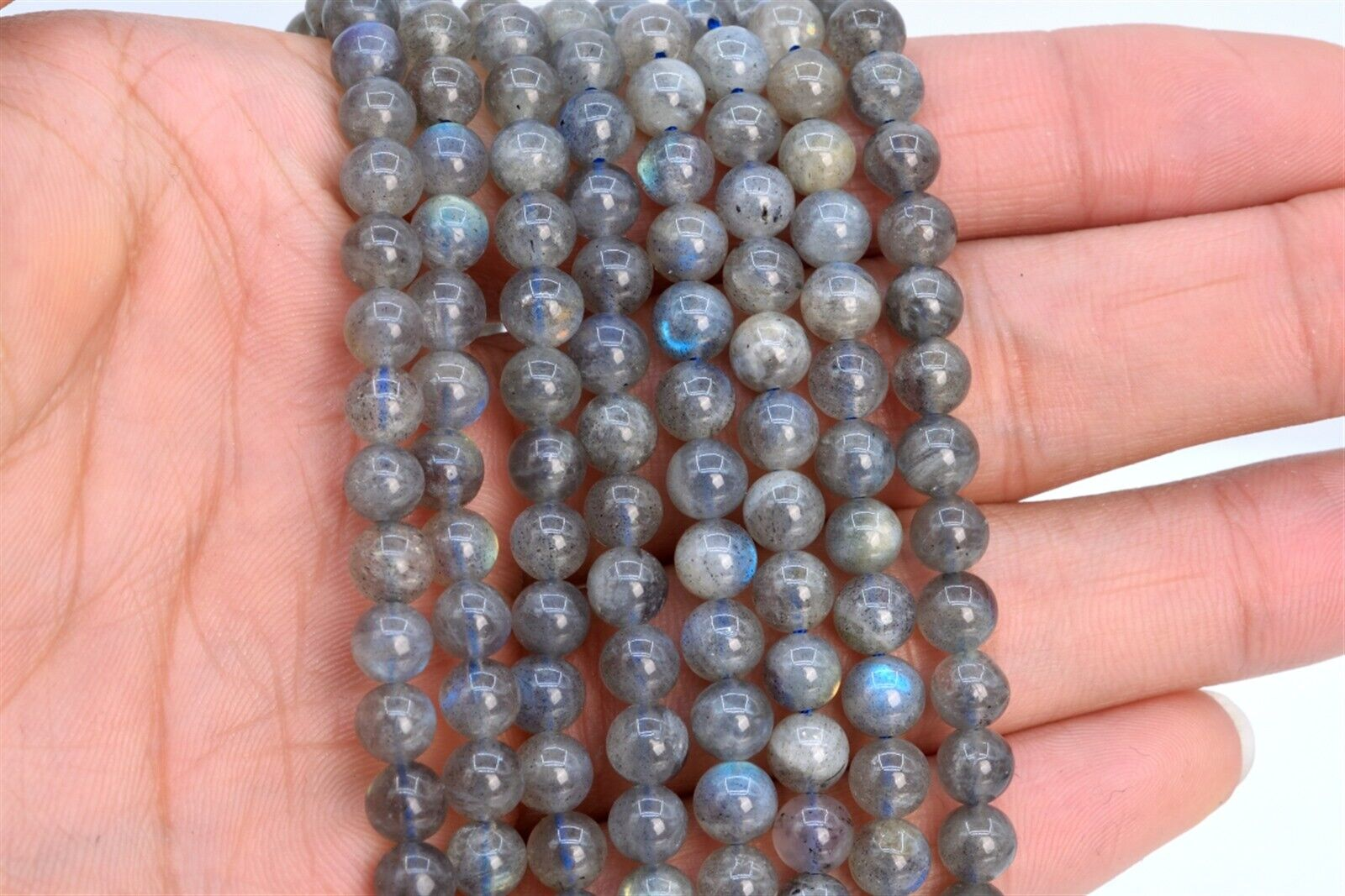 115546-3875 5-6MM Transparent Gray Labradorite Beads Madagascar Grade AAA Genuine Natural Gemstone Full Strand Round Loose Beads 15