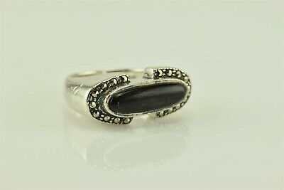 Solid Sterling Silver Bezel Set Black Oval Onyx Marcasite Accents Ring 925 Sz: (Marcasite Square Setting Ring)