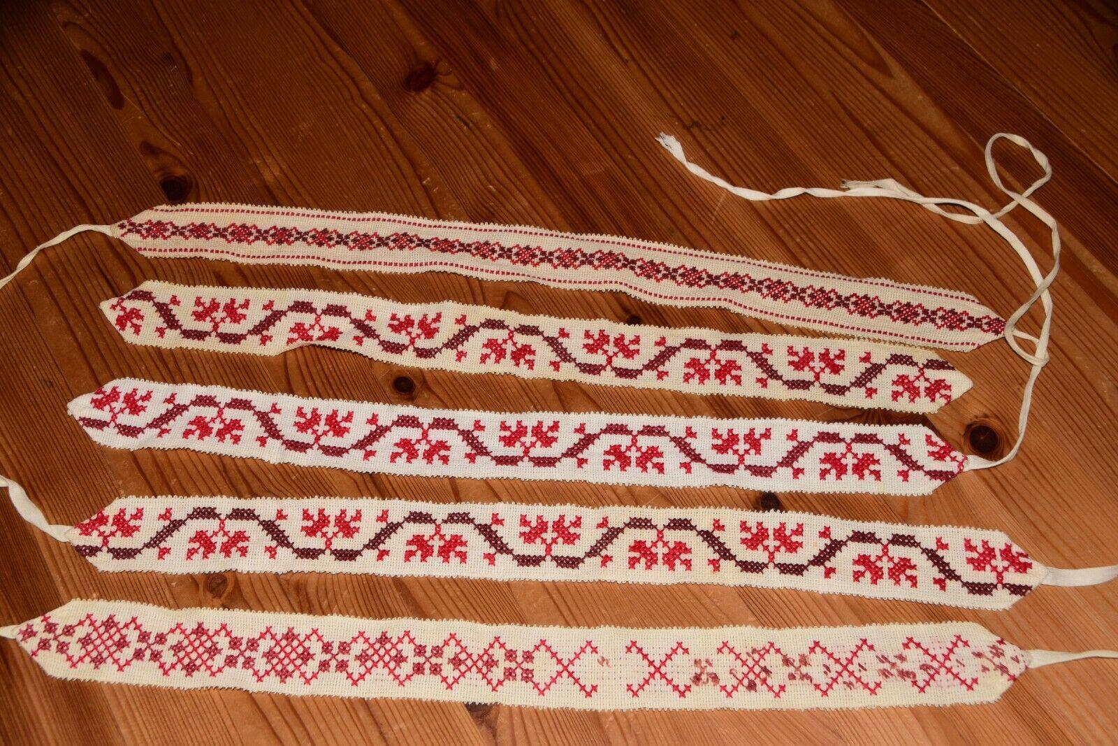 5 Antike alte Wäschebänder Bänder Band handbestickt rote Stickerei (6952)
