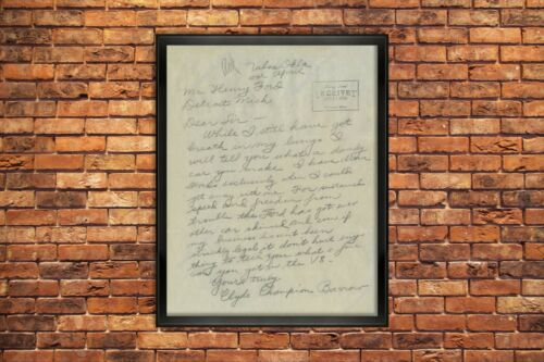 1934 BONNIE AND CLYDE SIGNED LETTER AUTHENTIC COPY